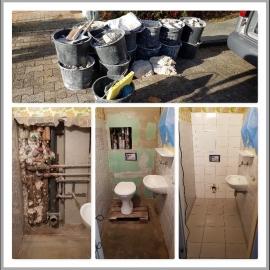 Wasserschaden incl Boden WC Rückwand